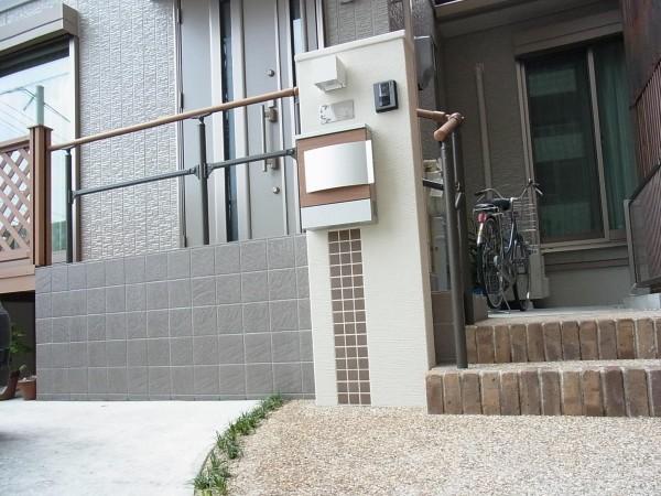 アクセントのある門柱 愛知県名古屋市1